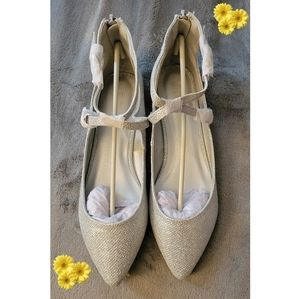 Dream Paris glittery Ankle strap pointed toe flats
